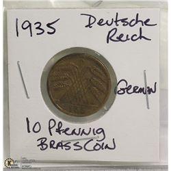 1935 DEUTSCHE REICH 10 PFENNIG BRASS NAZI COIN
