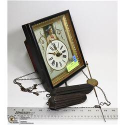 ANTIQUE PENDULUM CLOCK-NEEDS WORK