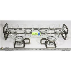 DECORATIVE METAL CANDLE HOLDER- 6 GLASS INSERTS/ME