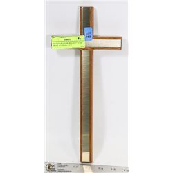 "RELIGIOUS CROSS- WALNUT WITH BRASS ACCENTS- 12"" T"
