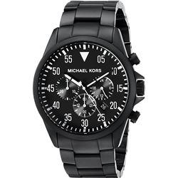 NEW MICHAEL KORS BLACK ION-PLATED CHRONO MSRP $371