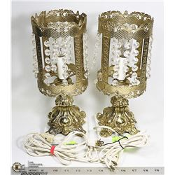 """2 VINTAGE ASIAN LAMPS, MARBLE BASE, 12"""" TALL"""