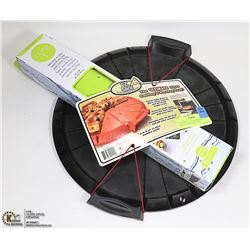 NEW PIZZA CUTTING & SERVING TRAY W/ A NEW SILICONE