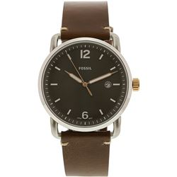 NEW FOSSIL GREY DIAL/BROWN STRAP 42MM MSRP $199