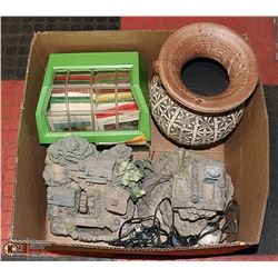 LARGE BOX OF PATIO/GARDEN DECOR AND