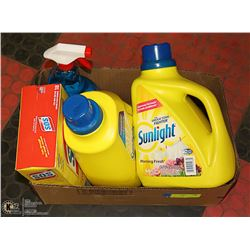 FLAT OF LAUNDRY DETERGENT AND CLEANING SUPPLIES