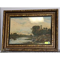 """ANTIQUE PAINTING OF A EUROPEAN CANAL 30 X 22"""""""