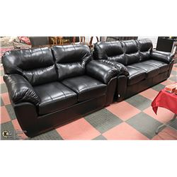 NEW BLACK LEATHERETTE SOFA WITH LOVE SEAT