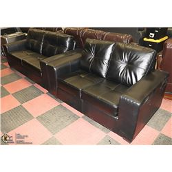 NEW BLACK LEATHERETTE SOFA WITH LOVE SEAT.