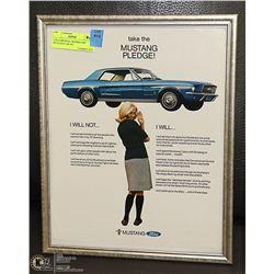 11X14 ORIGINAL FRAMED 1967 MUSTANG CAR AD