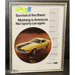11X14 ORIGINAL FRAMED MUSTANG 428 CAR AD