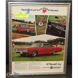 11X14 ORIGINAL 1967 PLYMOUTH FURY CAR AD