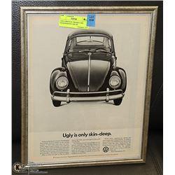 11X14 ORIGINAL FRAMED 1968 VOLKSWAGON CAR AD
