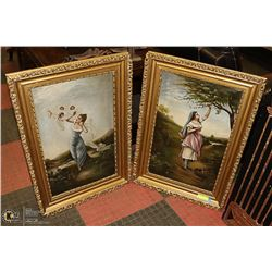 """PAIR OF GORGEOUS ANTIQUE OIL PAINTINGS 33""""X23"""""""