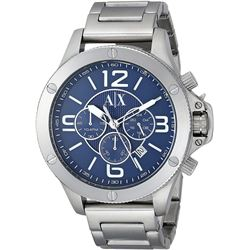 NEW ARMANI EXCHANGE 48MM SILVER TONE MSRP $329