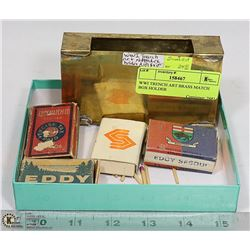 WWI TRENCH ART BRASS MATCH BOX HOLDER