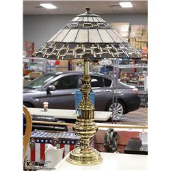 LEADED SLAG GLASS LAMP BRASS BASE