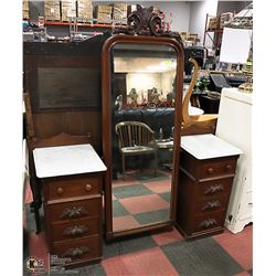ANTIQUE CHEVAL VANITY WITH MARBLE TOP