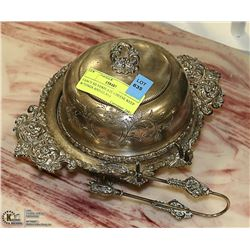 FANCY SILVERPLATE CHEESE KEEP W/TONGS AND GLASS