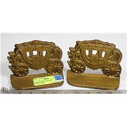 PAIR OF SOLID CAST IRON STAGECOACH