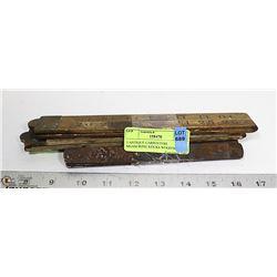 3 ANTIQUE CARPENTERS MEASURING STICKS WOOD/METAL