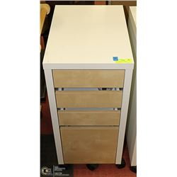 WHITE AND TAN 3 DRAWER WITH FILE DRAWER ROLLING