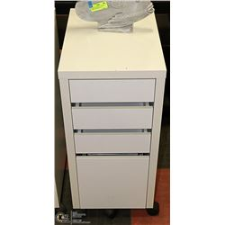 WHITE 3 DRAWER WITH FILE DRAWER ROLLING CABINET