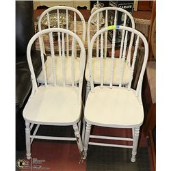 FOUR VINTAGE WHITE STURDY CHAIRS
