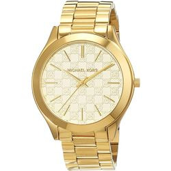 NEW MICHAEL KORS GOLDPLATED MK LOGO DIAL MSRP $349