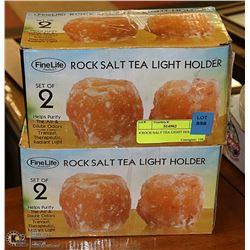 4 ROCK SALT TEA LIGHT HOLDERS