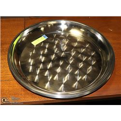 """LOT OF 6 STAINLESS STEEL SERVING TRAYS 16"""""""