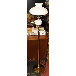 BRASS AND MILK GLASS FLOOR LAMP. VINTAGE