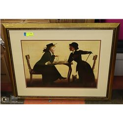 GOLD TONE FRAMED LADIES PICTURE.