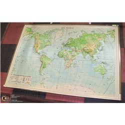 """LARGE TOPOGRAPHICAL MAP OF THE WORLD 42X60"""""""