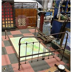 ANTIQUE CAST IRON BED WITH RAILS-DOUBLE BED