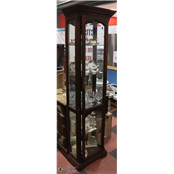 WOOD AND GLASS CURIO CABINET. FURNITURE