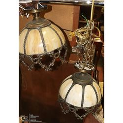 PAIR OF ANTIQUE VICTORIAN SLAG GLASS LAMPS-
