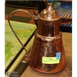 "HAND HAMMERED COPPER KETTLE 10.5""H"