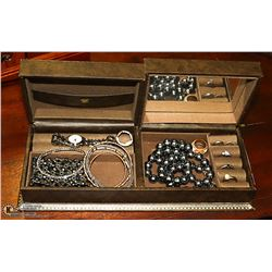 DOUBLE-SIDED JEWELLERY BOX FULL OF