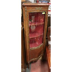 FRENCH PROVINCIAL CURVED GLASS CORNER CABINET