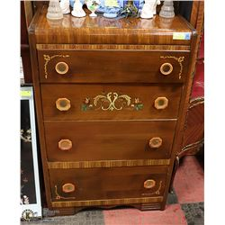 ANTIQUE FOUR DRAWER DRESSER (MATCHES LOT 1089)