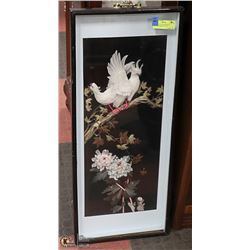 "BEAUTIFUL FEATHER ART IN WINDOW FRAME 32""X 13"""