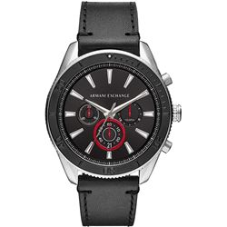 NEW ARMANI BLACK 46MM DIAL TRIPLE CHRONO MSRP $283