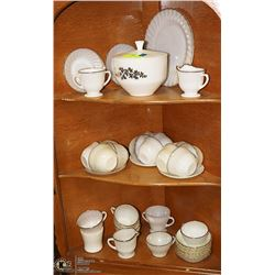 LARGE SET OF MILK GLASS DISHES BOWLS CUPS ETC