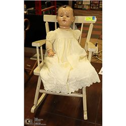 LARGE ANTIQUE BISQUE DOLL AND ROCKER