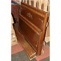 ANTIQUE DOUBLE SIZE WOOD INLAY HEADBOARD,