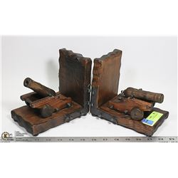1970'S WOOD CANNON'S BOOKENDS