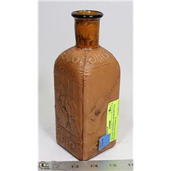 VINTAGE SPANISH LIQUOR BOTTLE WRAPPED IN LEATHER