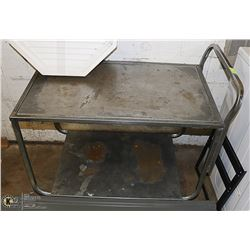 STAINLESS STEEL PRODUCE TABLE ON CASTOR 2 LEVELS