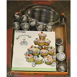 CUPCAKE/MUFFIN HOLDER,20 SPICE CONTAINERS,METAL PL